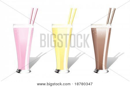 Strawberry, banana and chocolate milkshakes with straws. EPS10 vector format.