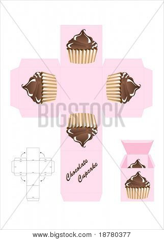A template for a cupcake gift box. Also available in vector format