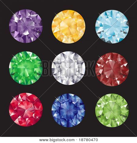 A set of brilliant cut gems on black background. Also available in vector format.