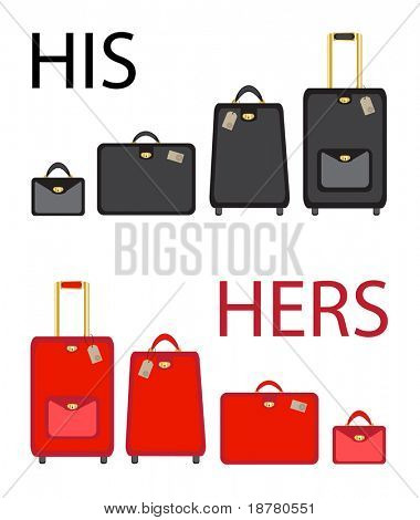 His and hers luggage sets on white background. EPS10 vector format