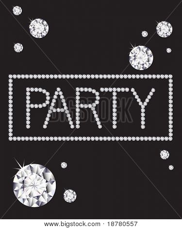 The word 'PARTY' written in diamonds with space for text. Vector format.