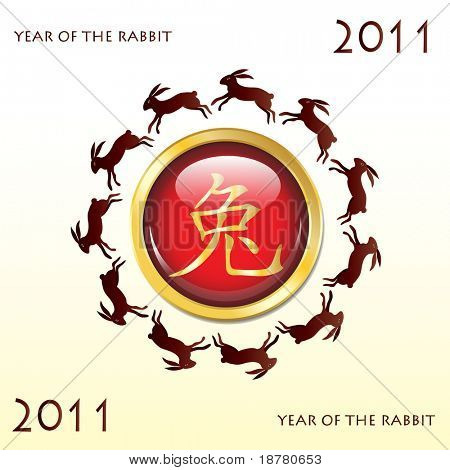 Glossy web button 2011 Year of the Rabbit. Chinese symbol with leaping rabbits. Also available in vector format.