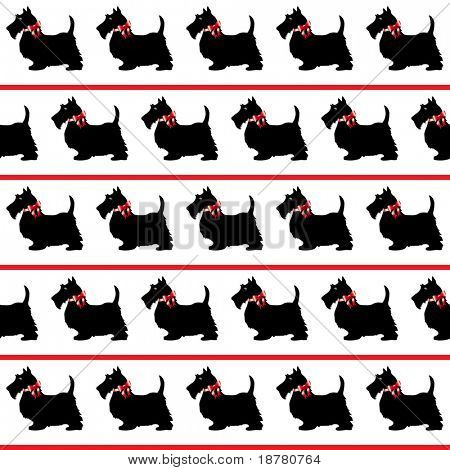 Black Scottie dogs with red bows on white background. Seamless. Also available in vector format