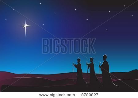 The Three Kings follow the star in the East to Bethlehem. Nativity scene. EPS10 vector format. Space for text.