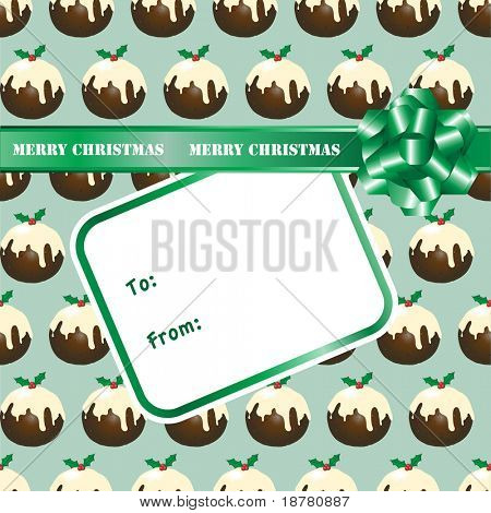 A seamless background of Christmas puddings with a gift bow and label. Space for your text. Fully editable EPS10 vector format.