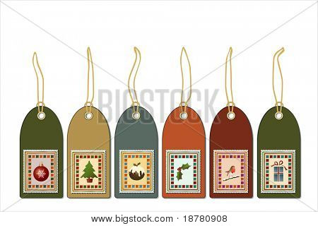 Christmas gift tags with postage stamp icons. Vintage style. Also available in vector format.