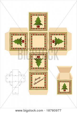 A Christmas gift box cut-out template with assembly instructions.EPS10 vector format.