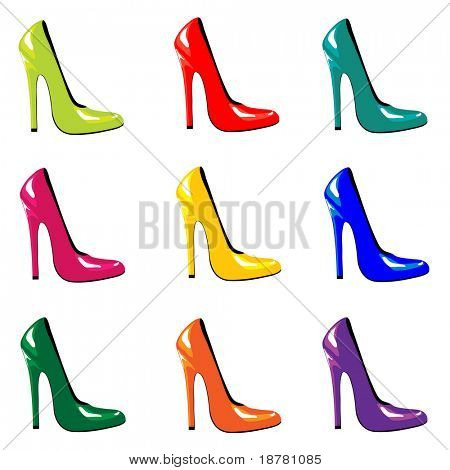 An illustration of bright, high-heel shoes isolated on white. Also available in vector format.