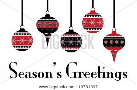 Hanging Christmas baubles, Stencil effect. Fully editable EPS10 vector format.
