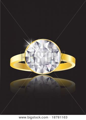 An illustration of a diamond ring on black background with reflection. EPS10 vector format.