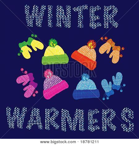 Knitted woolly children's hats and matching pairs of mittens in various colours. EPS10 vector format.