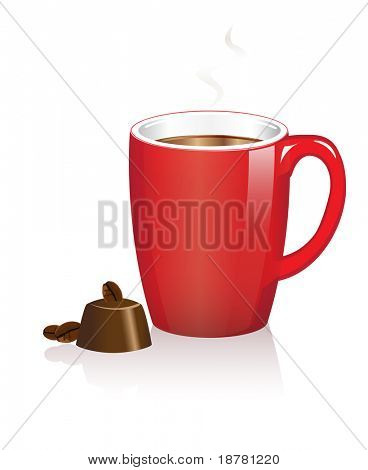 A red coffee mug with chocolate treat on white, Also available in vector format. Space for text.