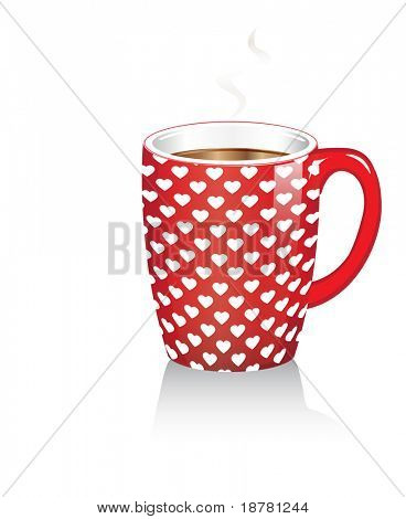 A red coffee mug with white hearts. Reflected on white background. Also available in vector format.