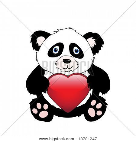A cute cartoon panda holding a glossy heart isolated on white. EPS10 vector format with space for your text