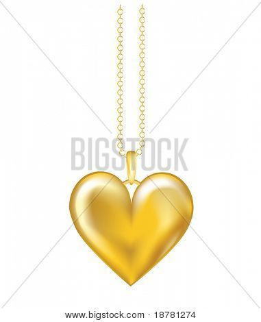 A realistic vector illustration of a gold locket on chain. Isolated on white background. EPS10 vector format.