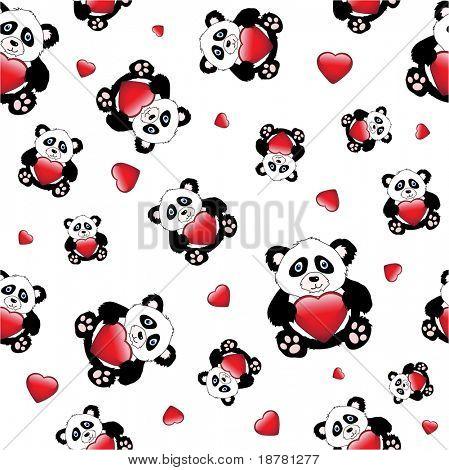 Pandas bonito dos desenhos animados, segurando um coração brilhante. isolado no branco. Também disponível em formato vetorial. Mar