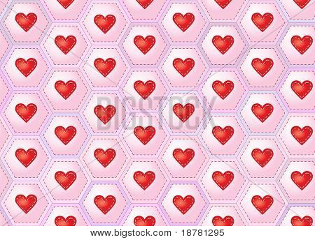 A seamless background of hearts sewn onto patchwork hexagons. EPS10 vector format.