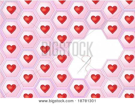 A seamless background of hearts sewn onto patchwork hexagons with needle and thread. EPS10 vector format. Space for text.