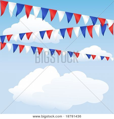 Red white and blue bunting. English or USA colours, suitable for 4th of July or Royal Wedding background. Space for text. Also available in vector format.
