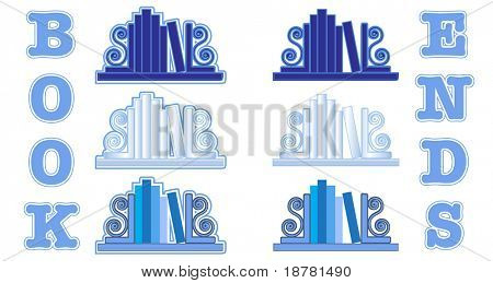 Stylized icons of books with bookends. Shades of blue. EPS 10 vector format