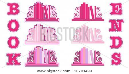 Stylized icons of books with bookends. Shades of pinks. Also available in vector format
