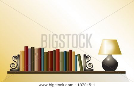 A bookshelf of books between bookends with table lamp. Space for your text. Also available in vector format.
