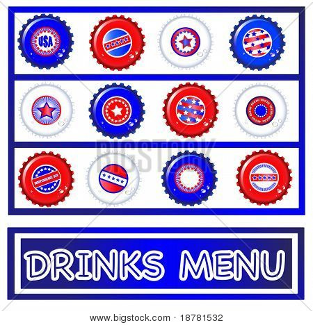 Drinks menu template of Stars & Stripes bottle caps. USA Fourth of July emblems. Background and caps on separate layers to enable easy editing. EPS10 vector format.