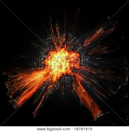 das Bild der feurigen Explosion auf schwarzem Hintergrund