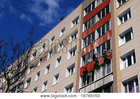 Major repairs of facade a residential building