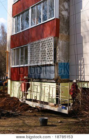 Major repairs of facade a residential building