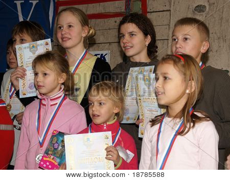 "RUSSIA, MOSCOW - DEC 12: Rewarding of winners of competition ""City youthful competitions on climbing sport Winter 2010"" December 12, 2010 in Moscow, Russia"
