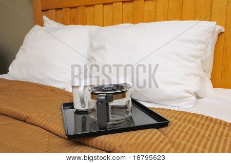 Coffee Or Tea Maker On Bed