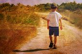 foto of sad boy  - Child on the road - JPG