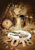 New year holiday table setting with champagne. Celebration. Place setting for new year eve. Holiday  poster
