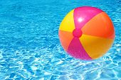 stock photo of pool ball  - A colorful beach ball floating on the swimming pool - JPG