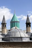 Mevlana museum in Konya Turkey - Domes view poster