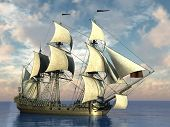 stock photo of sloop  - ship with sails in the sea - JPG