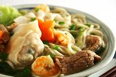 stock photo of wanton  - close up of a bowl of hot wanton noodle soup - JPG