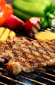 stock photo of barbecue grill  - steak on the grill - JPG
