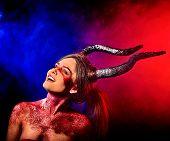 Постер, плакат: Mad satan woman on black magic ritual of in hell Witch reincarnation mythical creature on Sabbath