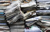 stock photo of recycled paper  - Paper packages for a recycling plant - JPG