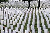 stock photo of arlington cemetery  - Endless white marble gravestones at the Arlington National Cemetery in Arlington - JPG