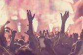 Crowd Of Audience With Hands Raised At A Music Festival poster