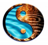 picture of ying yang  - a ying and yang symbol with water and fire inside  - JPG