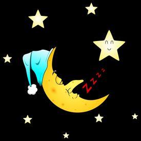 image of goodnight  - Cartoonesque illustration of a smiling sleeping moon - JPG