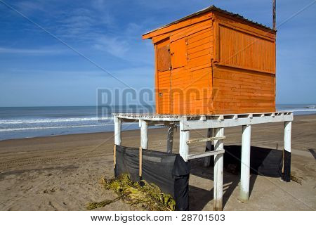 Orange lifeguard tower