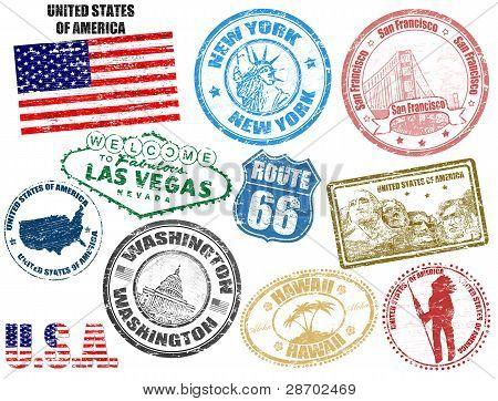 Briefmarken mit den Vereinigten Staaten von Amerika