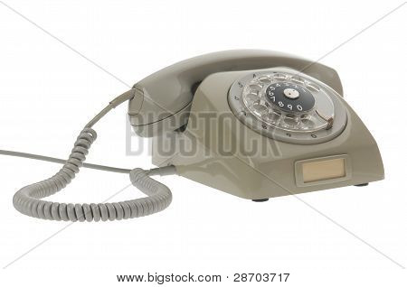 An Old Gray Vintage Rotary Style Telephone