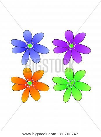Colored Flowers Vector