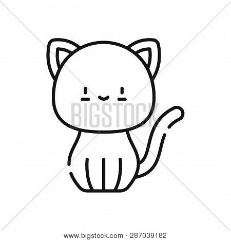 poster of Cat Icon Isolated On White Background. Cat Icon In Trendy Design Style. Cat Vector Icon Modern And S